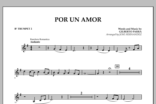Jose Hernandez Por Un Amor - Bb Trumpet 2 sheet music notes and chords