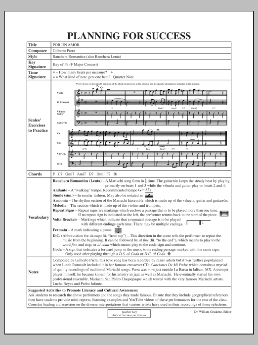 Jose Hernandez Por Un Amor - Planning for Success sheet music notes and chords