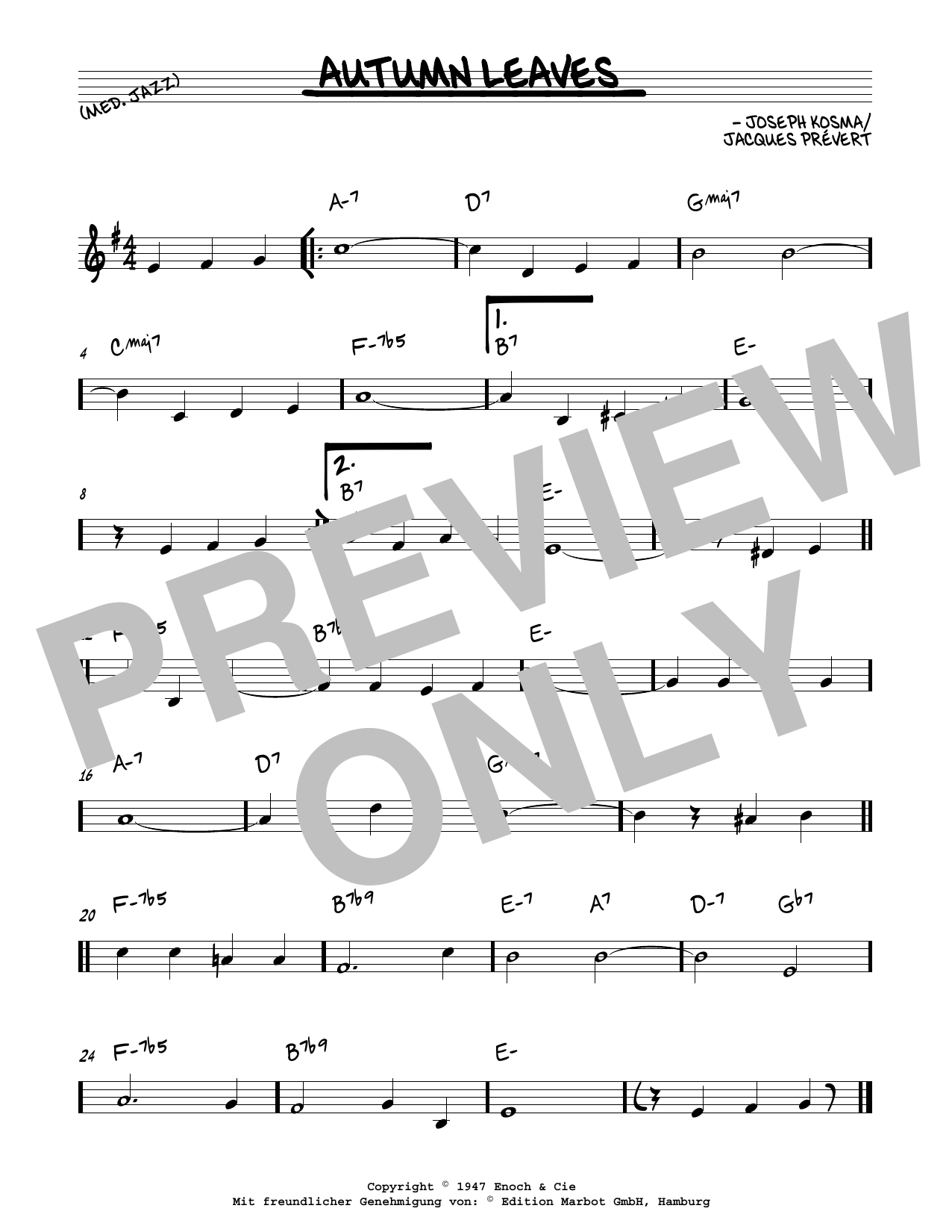 Download Joseph Kosma 'Autumn Leaves' Digital Sheet Music Notes & Chords and start playing in minutes