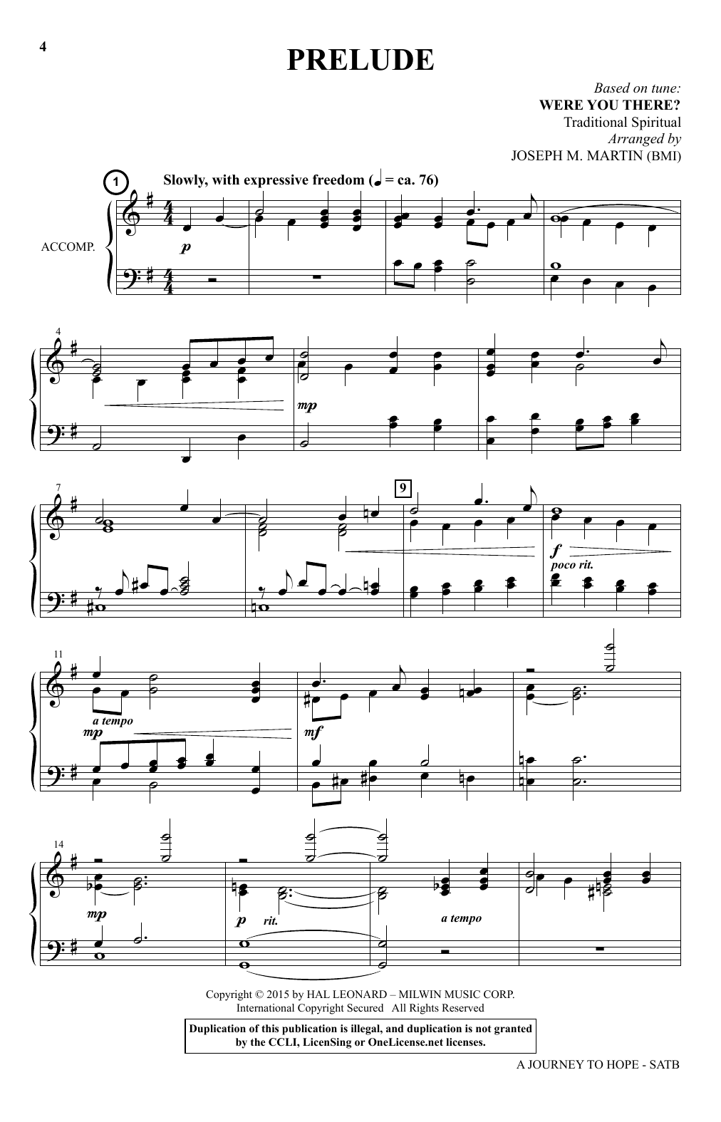 Joseph M. Martin A Journey To Hope (A Cantata Inspired By Spirituals) sheet music preview music notes and score for SATB Choir including 101 page(s)
