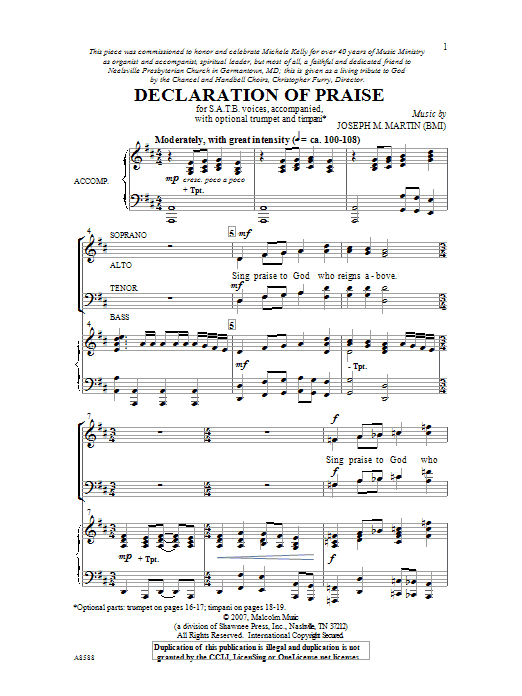 Joseph M. Martin Declaration Of Praise sheet music preview music notes and score for SATB including 14 page(s)
