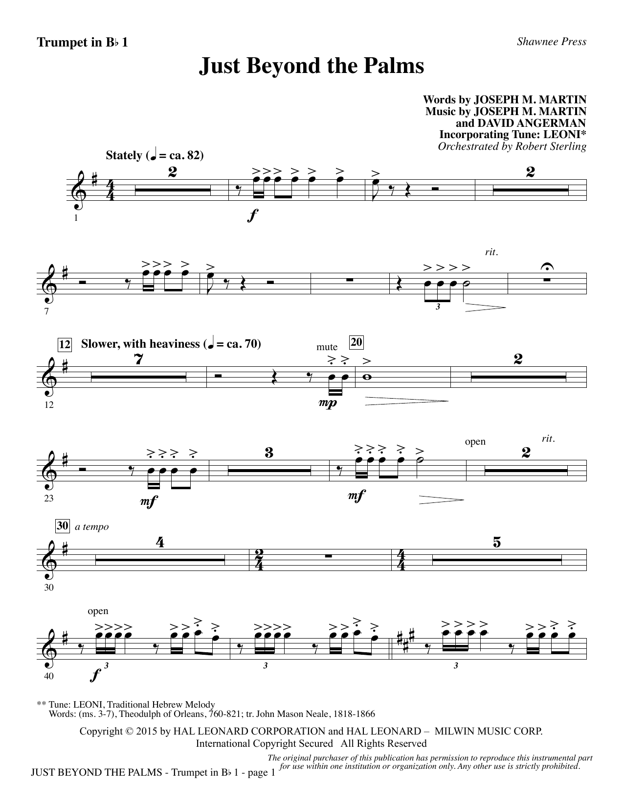 Joseph M. Martin Just Beyond the Palms - Bb Trumpet 1 sheet music preview music notes and score for Choir Instrumental Pak including 2 page(s)
