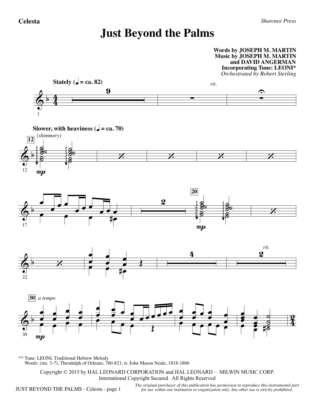 Joseph M. Martin Just Beyond the Palms - Celesta sheet music preview music notes and score for Choir Instrumental Pak including 2 page(s)