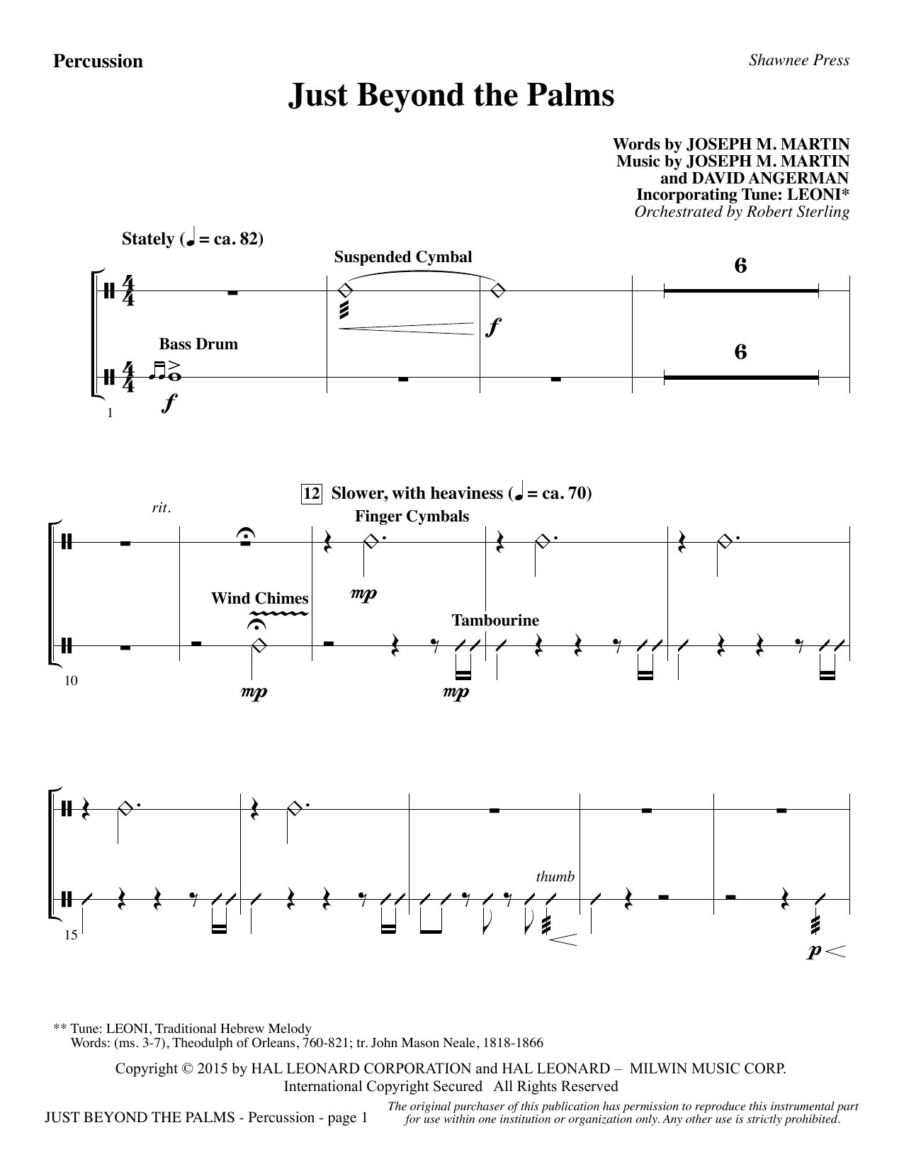 Joseph M. Martin Just Beyond the Palms - Percussion sheet music preview music notes and score for Choir Instrumental Pak including 3 page(s)