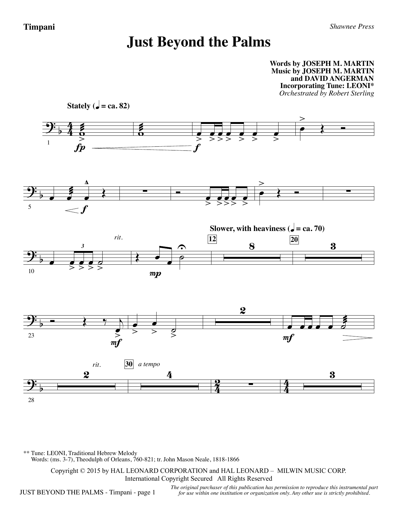 Joseph M. Martin Just Beyond the Palms - Timpani sheet music preview music notes and score for Choir Instrumental Pak including 2 page(s)