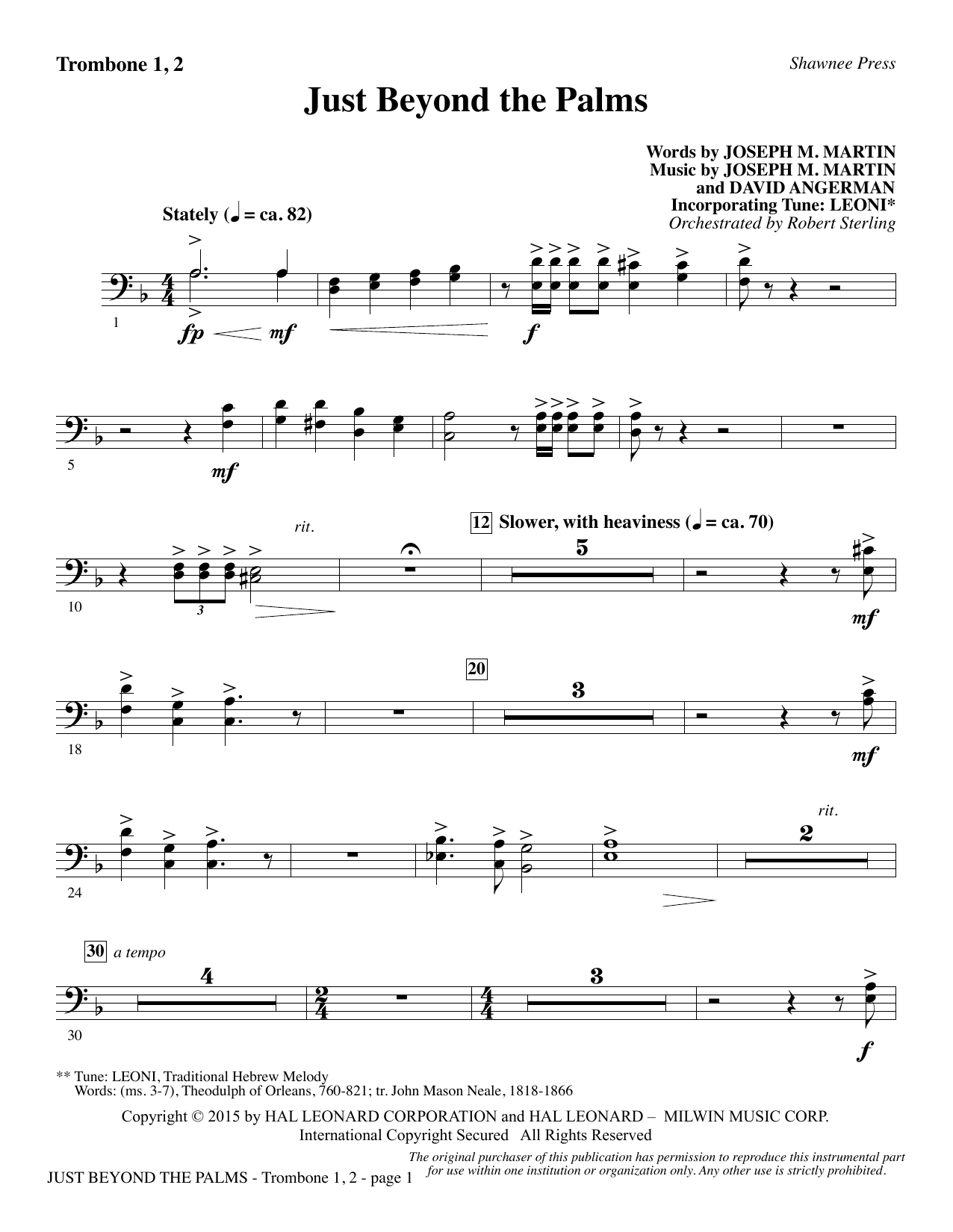 Joseph M. Martin Just Beyond the Palms - Trombone 1 & 2 sheet music preview music notes and score for Choir Instrumental Pak including 2 page(s)