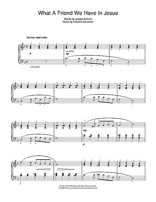 Download Joseph M. Scriven 'What A Friend We Have In Jesus' Digital Sheet Music Notes & Chords and start playing in minutes