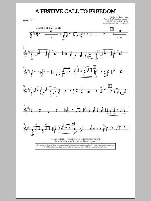 Joseph Martin A Festive Call to Freedom - F Horn 1,2 sheet music notes and chords