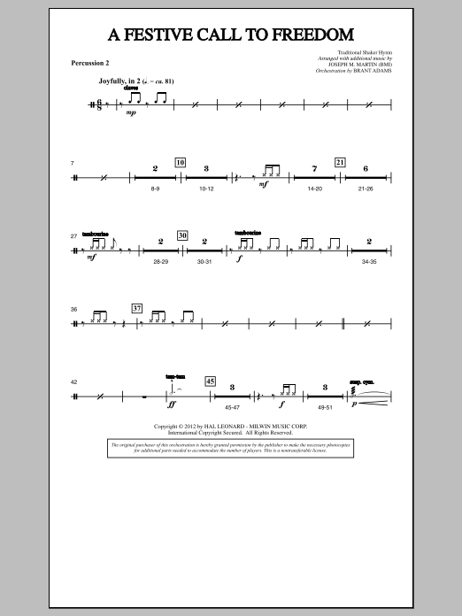 Joseph Martin A Festive Call to Freedom - Percussion 2 sheet music notes and chords