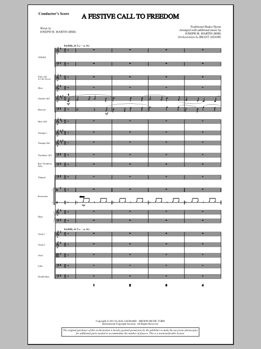 Joseph Martin A Festive Call to Freedom - Score sheet music notes and chords