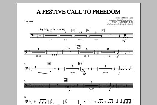 Joseph Martin A Festive Call to Freedom - Timpani sheet music notes and chords