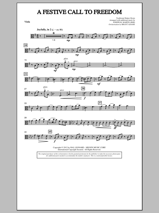 Joseph Martin A Festive Call to Freedom - Viola sheet music notes and chords