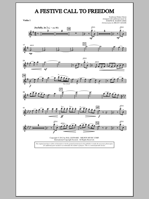 Joseph Martin A Festive Call to Freedom - Violin 1 sheet music notes and chords