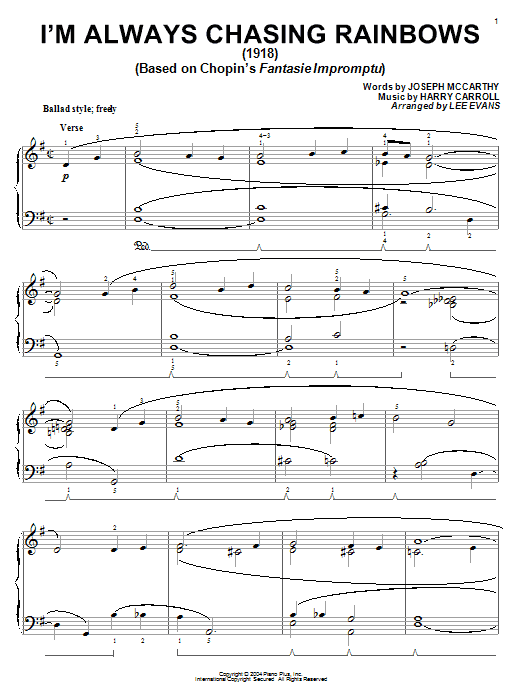 Download Joseph McCarthy 'I'm Always Chasing Rainbows' Digital Sheet Music Notes & Chords and start playing in minutes