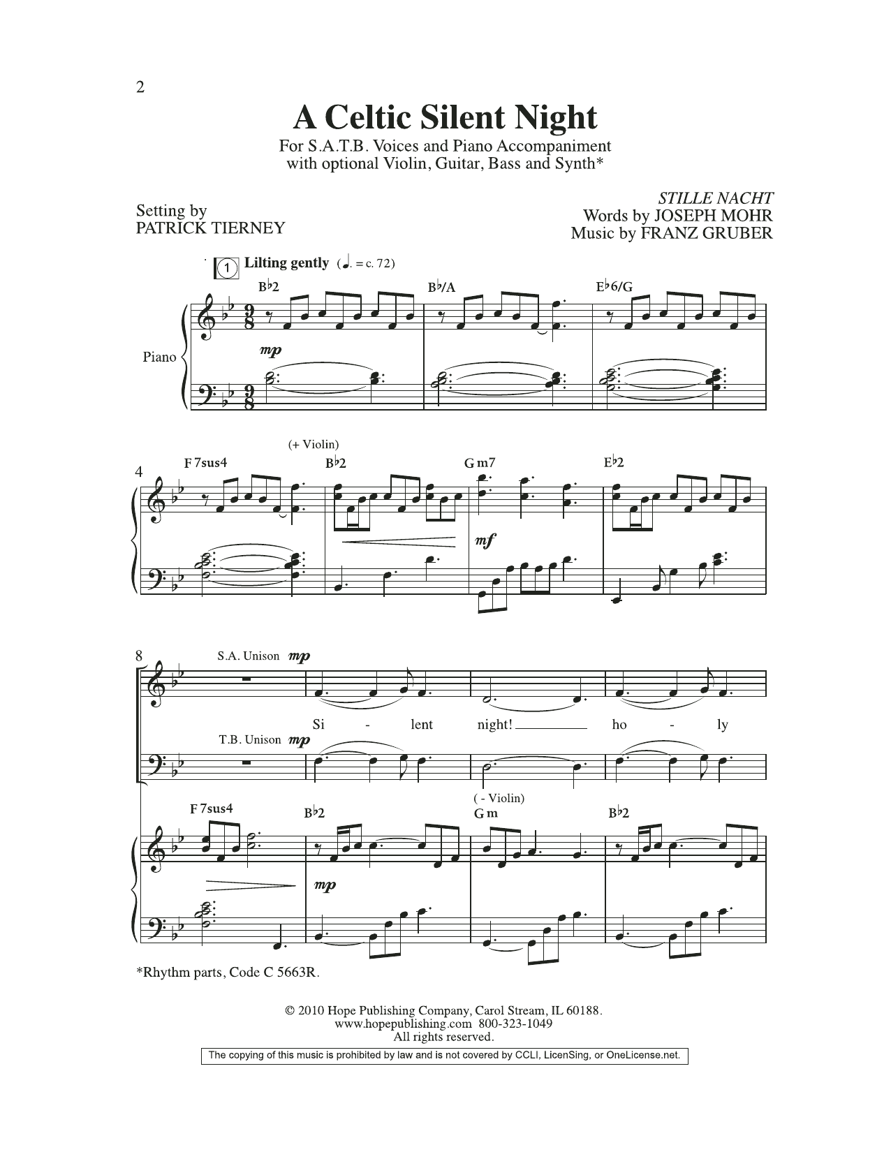 Joseph Mohr A Celtic Silent Night sheet music preview music notes and score for SATB Choir including 11 page(s)
