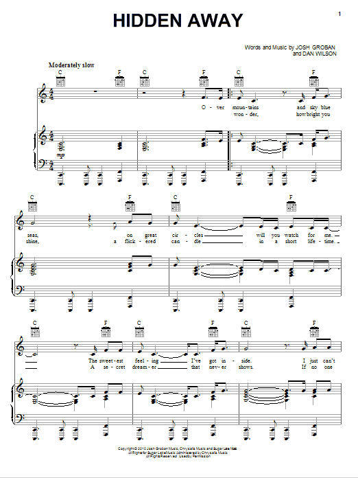 Download Josh Groban 'Hidden Away' Digital Sheet Music Notes & Chords and start playing in minutes
