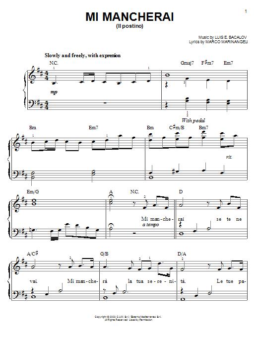 Josh Groban Mi Mancherai sheet music notes and chords