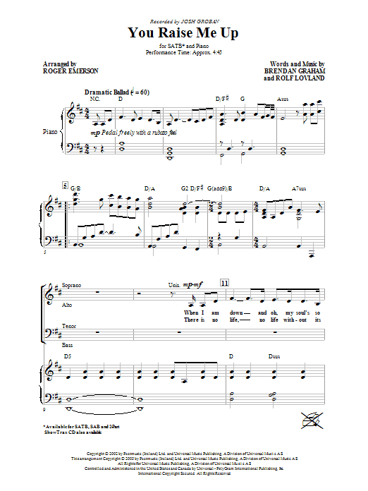 Josh Groban You Raise Me Up (arr. Roger Emerson) sheet music preview music notes and score for SATB including 5 page(s)