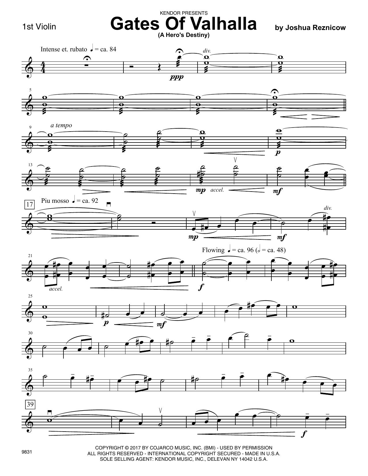 Joshua Reznicow Gates Of Valhalla (A Hero's Destiny) - 1st Violin sheet music preview music notes and score for Orchestra including 3 page(s)