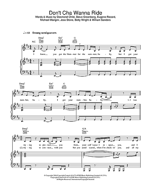 Joss Stone Don't Cha Wanna Ride sheet music notes and chords