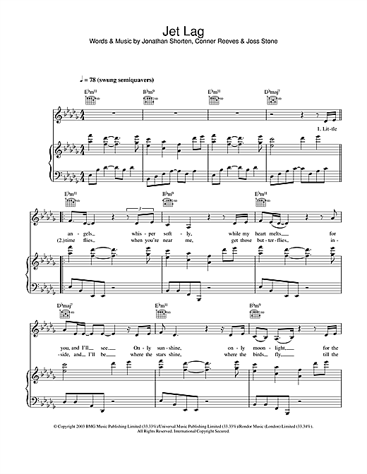 Joss Stone Jet Lag sheet music notes and chords