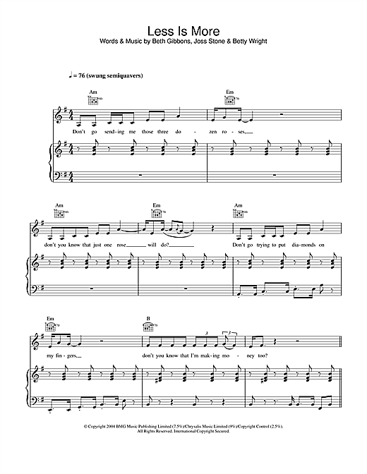 Joss Stone Less Is More sheet music notes and chords