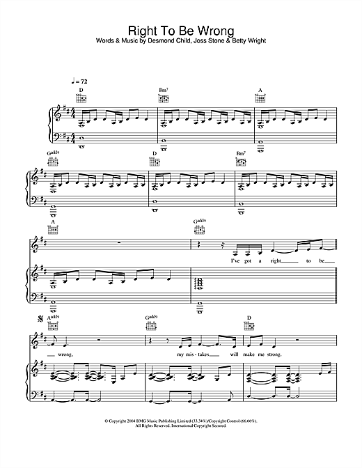 Joss Stone Right To Be Wrong sheet music notes and chords