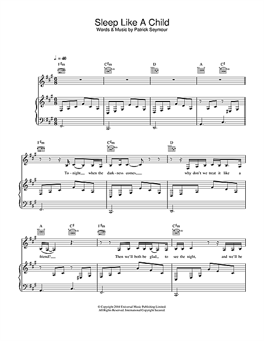 Joss Stone Sleep Like A Child sheet music notes and chords