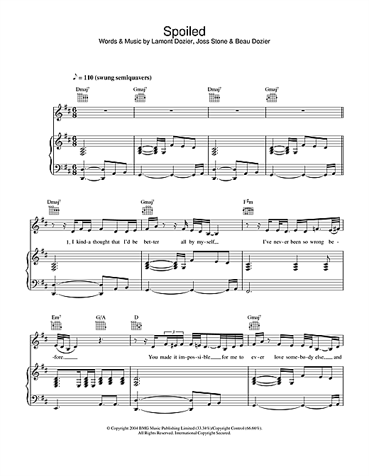 Joss Stone Spoiled sheet music notes and chords