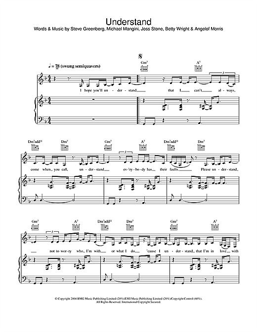 Joss Stone Understand sheet music notes and chords
