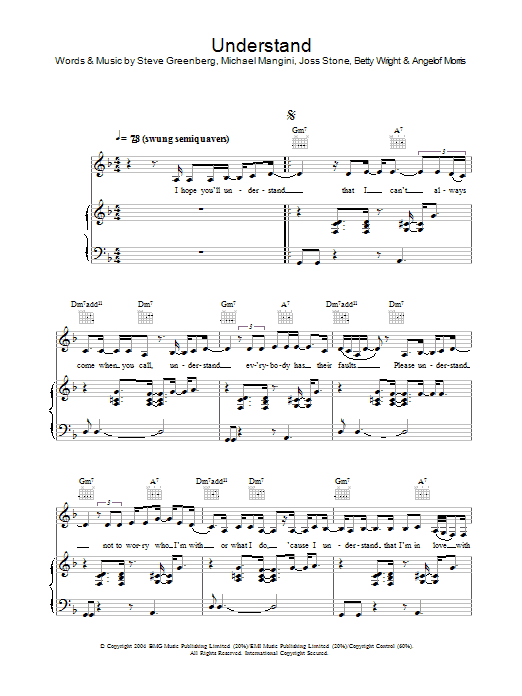 Joss Stone Understand sheet music preview music notes and score for Piano, Vocal & Guitar including 6 page(s)