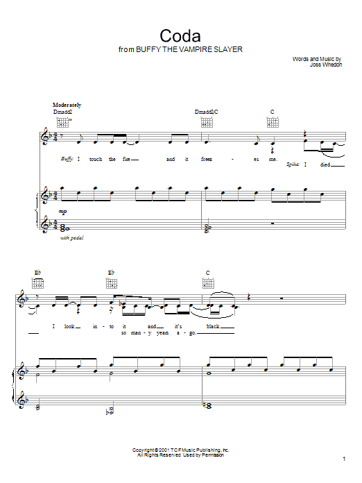 Joss Whedon Coda (from Buffy The Vampire Slayer) sheet music preview music notes and score for Piano, Vocal & Guitar (Right-Hand Melody) including 2 page(s)
