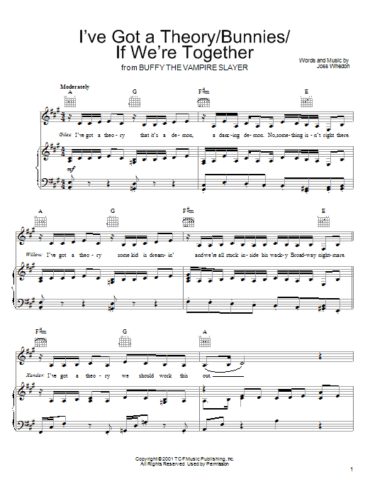 Joss Whedon I've Got A Theory/Bunnies/If We're Together (from Buffy The Vampire Slayer) sheet music preview music notes and score for Piano, Vocal & Guitar (Right-Hand Melody) including 7 page(s)