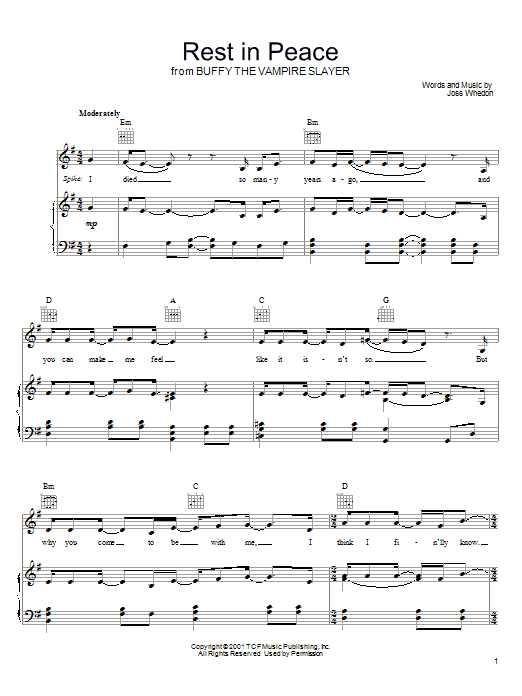 Joss Whedon Rest In Peace (from Buffy The Vampire Slayer) sheet music preview music notes and score for Piano, Vocal & Guitar (Right-Hand Melody) including 7 page(s)
