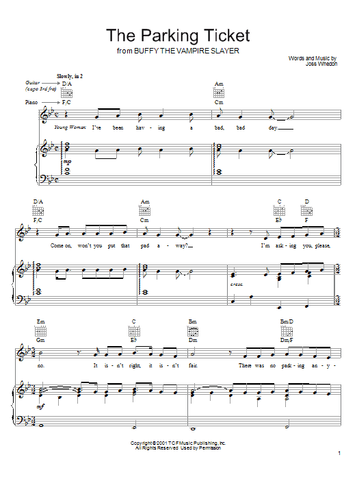 Joss Whedon The Parking Ticket (from Buffy The Vampire Slayer) sheet music preview music notes and score for Piano, Vocal & Guitar (Right-Hand Melody) including 2 page(s)