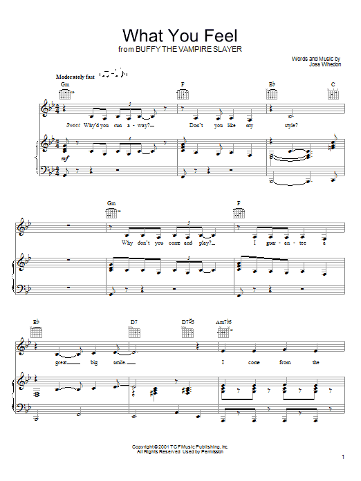 Joss Whedon What You Feel (from Buffy The Vampire Slayer) sheet music preview music notes and score for Piano, Vocal & Guitar (Right-Hand Melody) including 8 page(s)