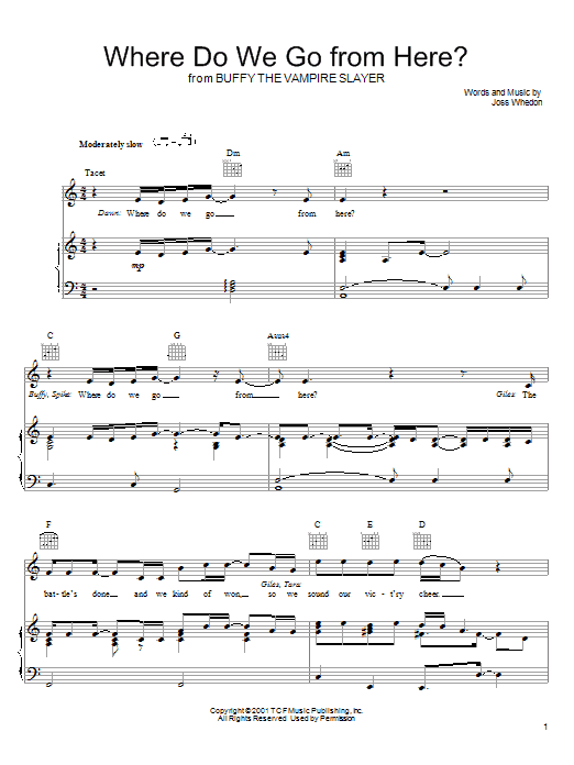 Joss Whedon Where Do We Go From Here? (from Buffy The Vampire Slayer) sheet music preview music notes and score for Piano, Vocal & Guitar (Right-Hand Melody) including 4 page(s)