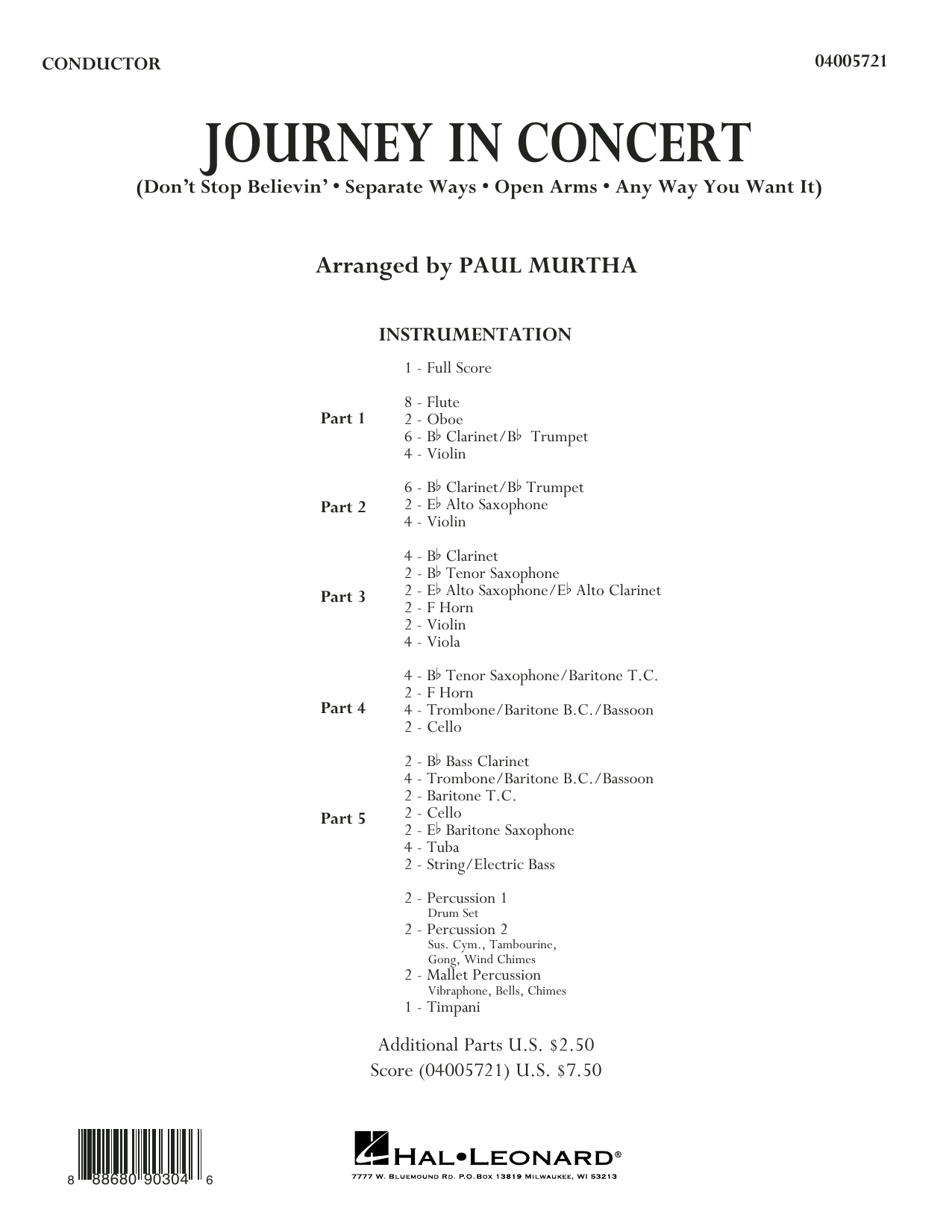 Journey Journey in Concert (arr. Paul Murtha) - Conductor Score (Full Score) sheet music preview music notes and score for Concert Band including 28 page(s)