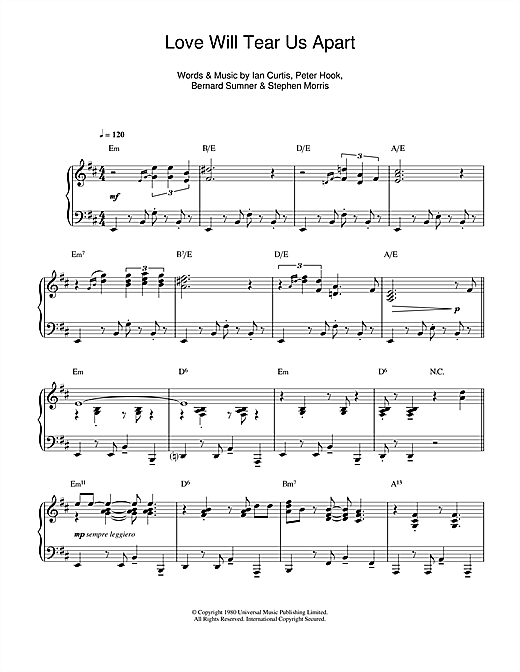 Joy Division Love Will Tear Us Apart (jazz version) sheet music notes and chords