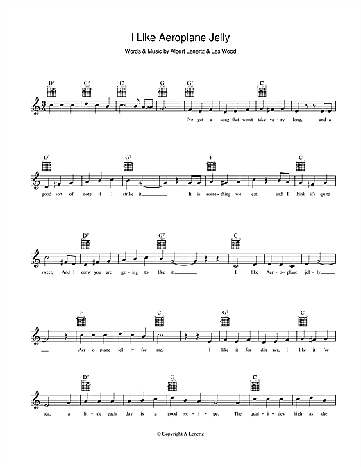 Joy King I Like Aeroplane Jelly sheet music preview music notes and score for Melody Line, Lyrics & Chords including 2 page(s)