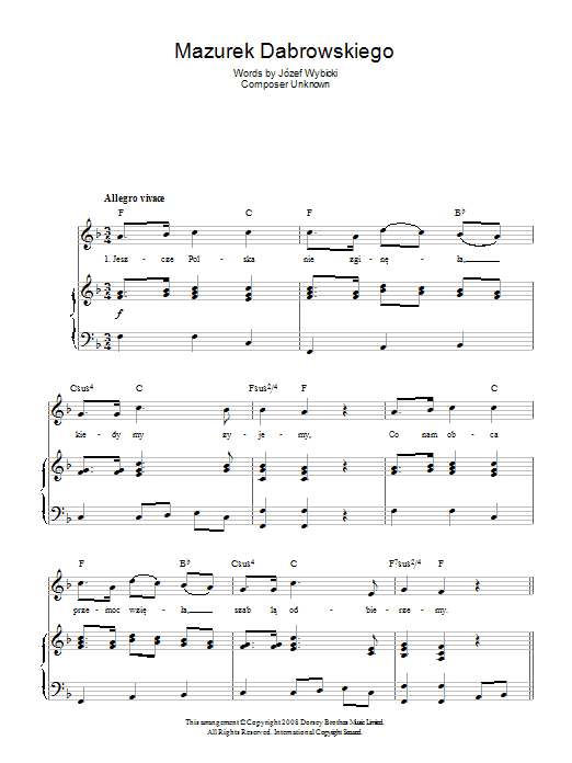 Jozef Wybicki Mazurek Dabrowskiego (Polish National Anthem) sheet music preview music notes and score for Piano, Vocal & Guitar (Right-Hand Melody) including 2 page(s)