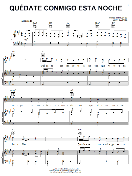 Juan Gabriel Quedate Conmigo Esta Noche sheet music notes and chords