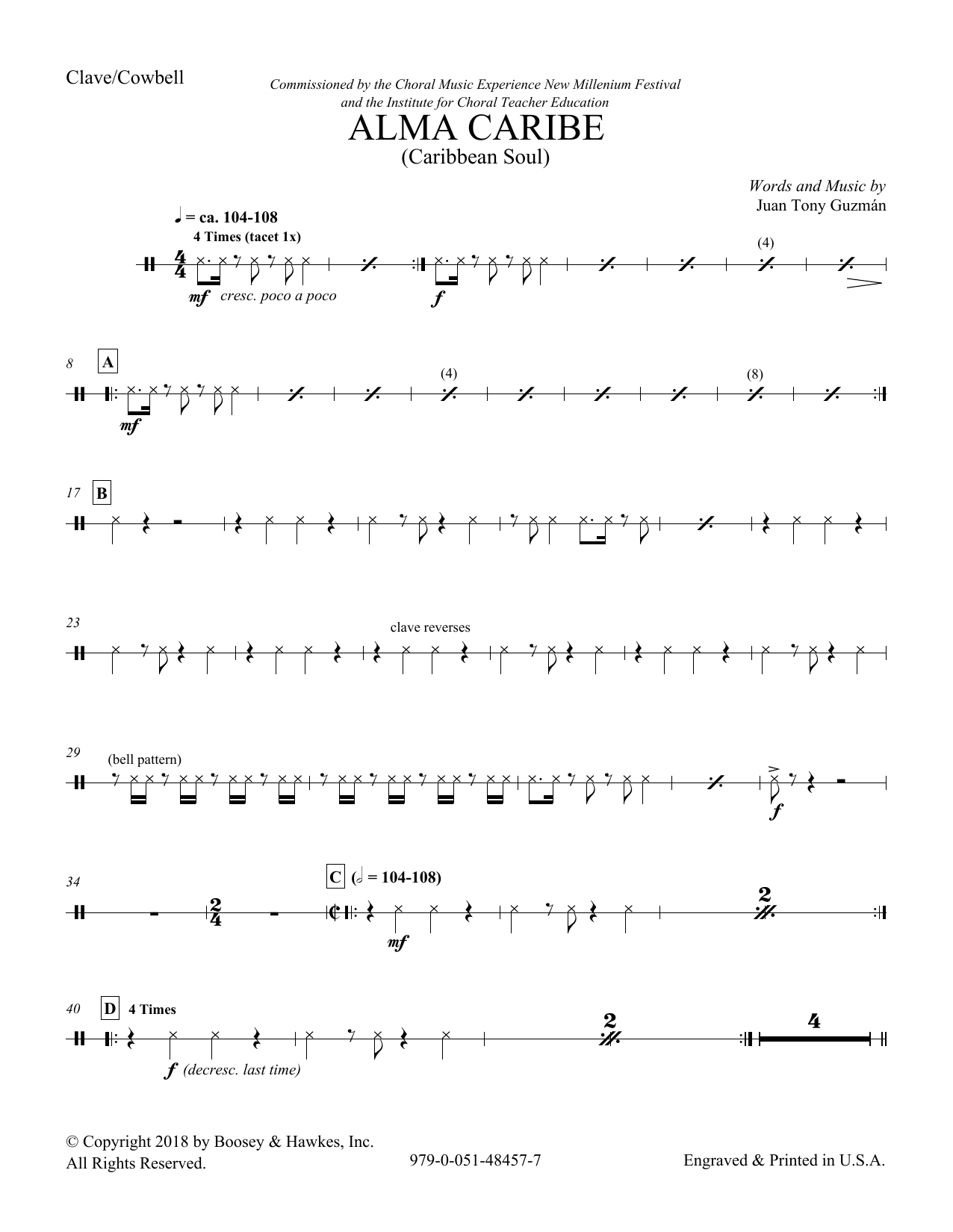 Download Juan Tony Guzman 'Alma Caribe (Caribbean Soul) - Aux Percussion' Digital Sheet Music Notes & Chords and start playing in minutes