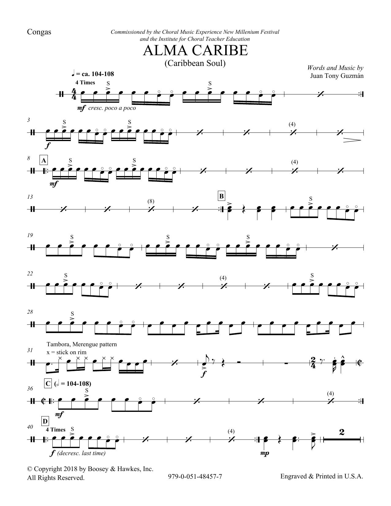 Download Juan Tony Guzman 'Alma Caribe (Caribbean Soul) - Congas' Digital Sheet Music Notes & Chords and start playing in minutes