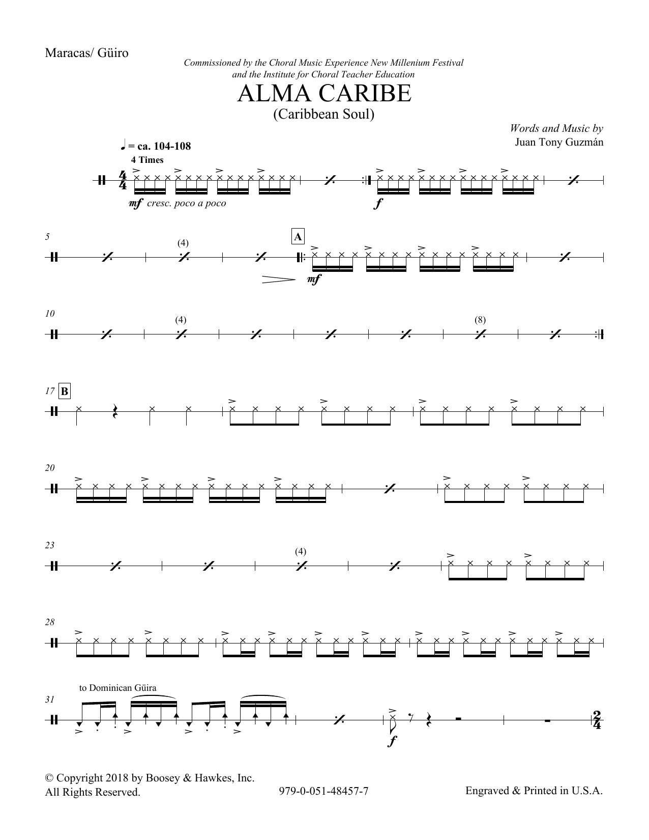 Download Juan Tony Guzman 'Alma Caribe (Caribbean Soul) - Guiro' Digital Sheet Music Notes & Chords and start playing in minutes