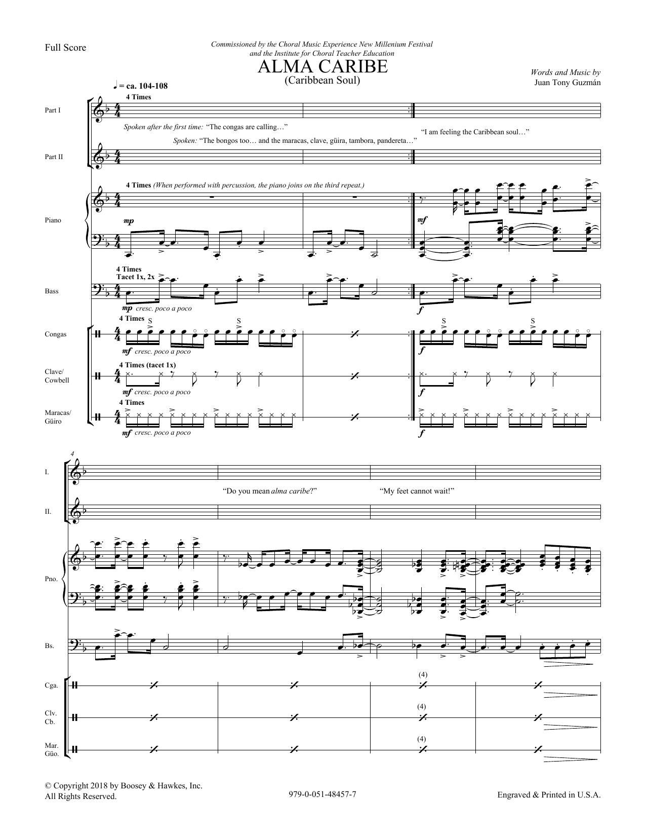 Download Juan Tony Guzman 'Alma Caribe (Caribbean Soul) - Score' Digital Sheet Music Notes & Chords and start playing in minutes