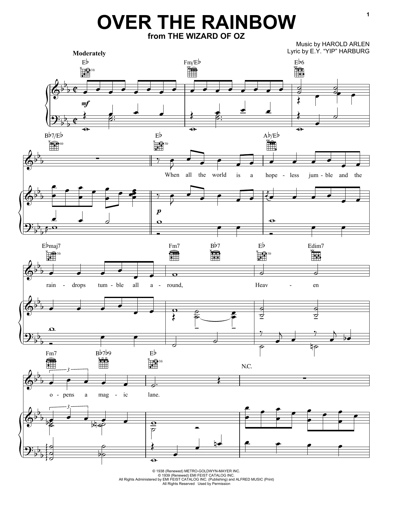 Judy Garland Over The Rainbow sheet music notes and chords