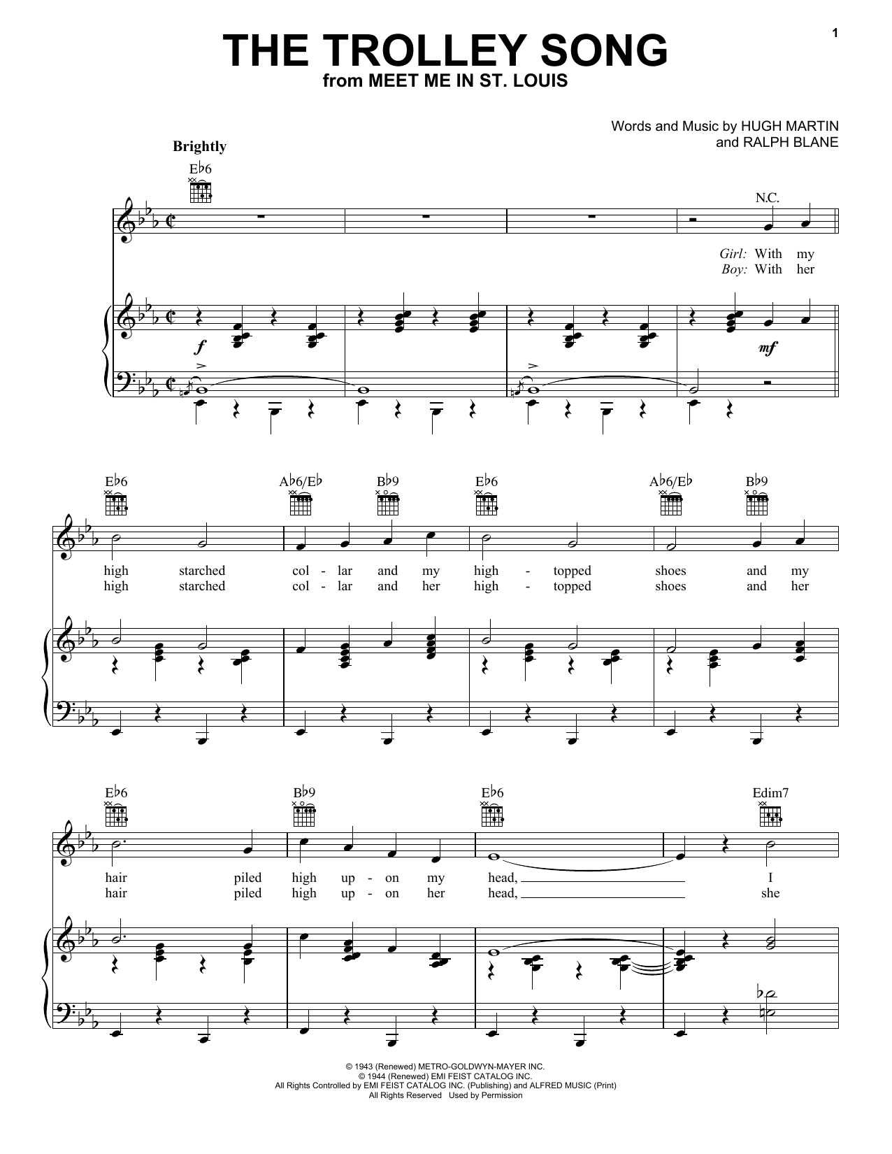 Judy Garland The Trolley Song sheet music notes and chords