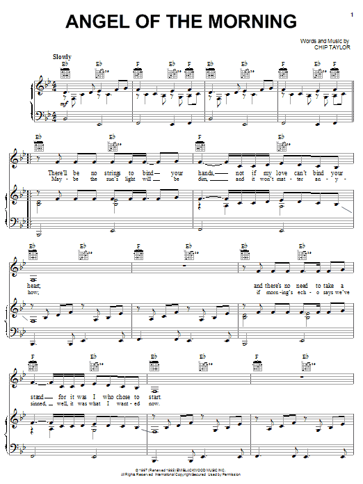 Juice Newton Angel Of The Morning sheet music notes and chords