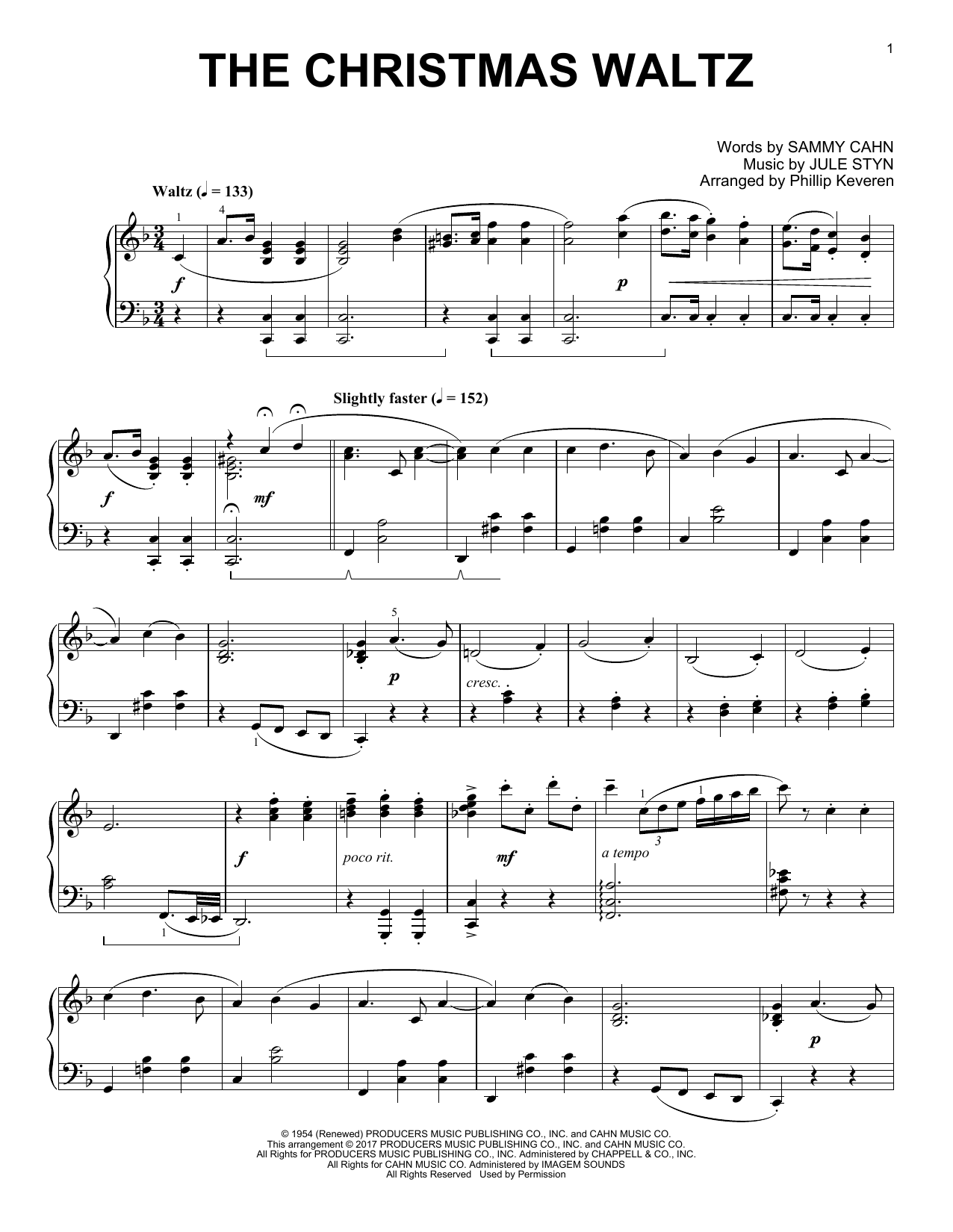 Download Phillip Keveren 'The Christmas Waltz' Digital Sheet Music Notes & Chords and start playing in minutes